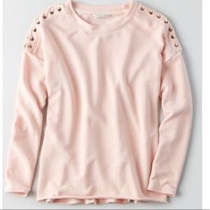 Laced sleeve light pink pullover terry sweatshirt